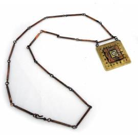 گردنبند مس و برنج و ورشو (آبستره)  با زنجیر مسی