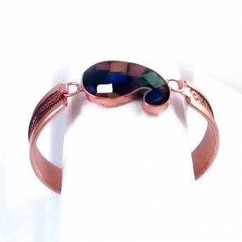دستبند مسی بته جقه سنگ کاری شده کد34