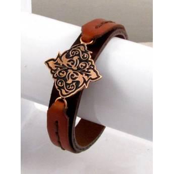 دستبند چرم و مس کد35